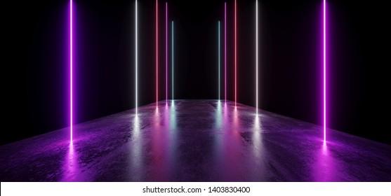 Future Night Neon Show Vibrant Glow Purple Blue Modern Futuristic Underground Concrete Grunge Floor Reflection Empty Showcase Portal Entrance Path Corridor Tunnel Garage 3D Rendering Illustration