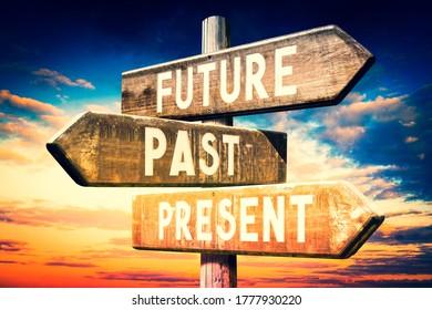 Zukunft, Vergangenheit, Gegenwart - Holzschild - 3D-Illustration