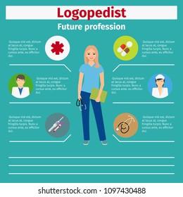Future profession logopedist infographic for students, illustration