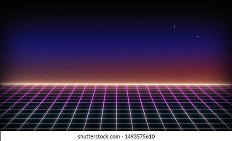 Future Retro Sci-Fi Background Futuristic landscape of the 80`s. Digital Cyber Surface. Suitable for design in the style of the 1980`s. 3D illustration