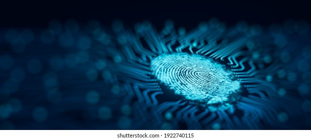Future security technology. Fingerprint scan provides security access with the converging point of circuit. Fingerprint Security Concept. 3D Render.