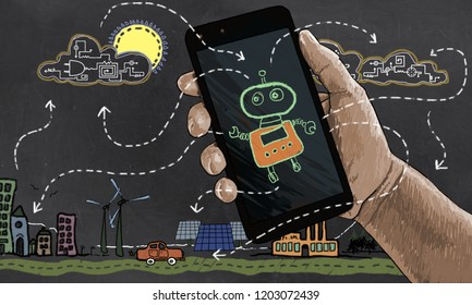 Future Technology automates Renewable Energy. Illustrated in Classic Drawing Style with Robot, Smart Phone and Technologies