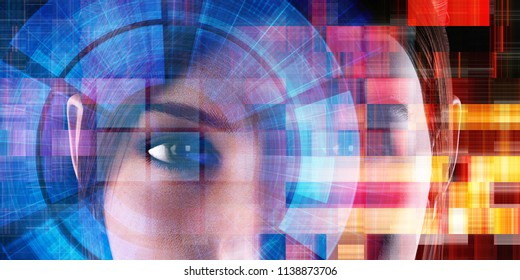 Future of Technology Background with Woman Face 3D Render