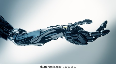 Future technology in black prosthetic hand on white. 3ds max render / Futuristic innovation - artificial arm