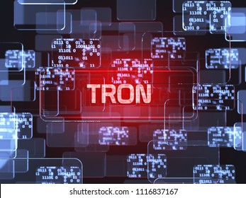 Future technology block chain cryptocurrency Tron red touchscreen interface. Blockchain financial virtual money wallet screen concept. 3d rendering illustration
