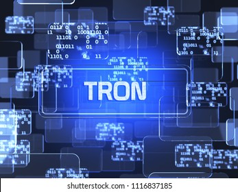 Future technology block chain cryptocurrency Tron blue touchscreen interface. Blockchain financial virtual money wallet screen concept. 3d rendering illustration
