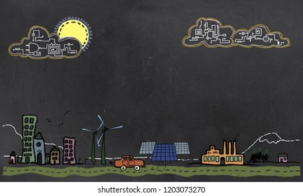 Future Technology and Renewable Energy on Blackboard with blank Space for Writing