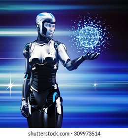 Future technology. Robot woman touch sphere interface.