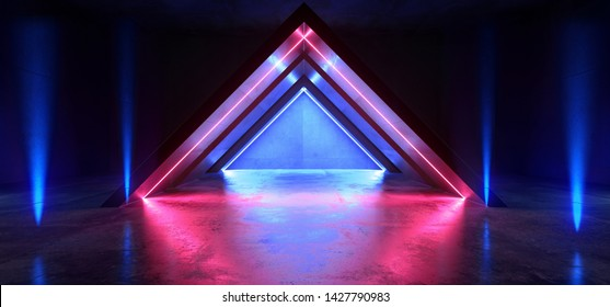 Future Virtual Neon Glowing Lights Purple Blue Triangle Shape Construction Stage Podium Club Dark Night Laser Sci Fi Show Futuristic Vibrant Reflective Concrete 3D Rendering  Illustration