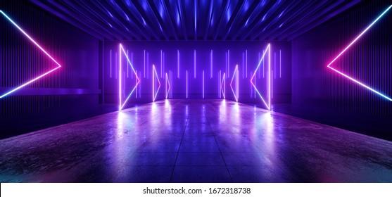 Futurism Sci Fi Modern Alien Neon laser Vibrant Purple Blue Pantone Arrows Podium Stage Dance Fashion Concrete Catwalk Club Nigh 3D Rendering Illustration