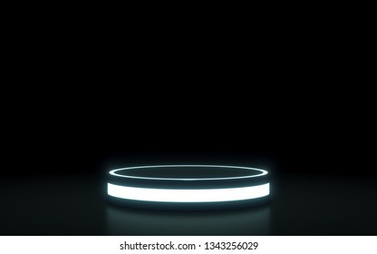 Futuristi circle  pedestal for display. Blank podium for product. 3d rendering