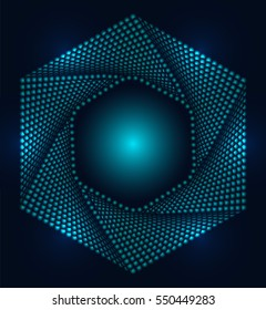 Futuristic 3d background, Hexagon abstract frame, Geometric shape sexangle symbols. Halftone background for your corporate identity, branding, flyers, brochure. Illustration turquoise background