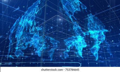 A futuristic 3d illustration of a cubic shaped world map placed askew, with a light blue grid, numerous dots and lines, sparkling mass media links, holographic images of continents.