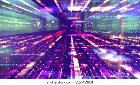A futuristic 3d illustration of a shining colorful space configuration looking like a streamlines time tunnel for supersonic spaceships depicted in a volumetric way in the violet background.