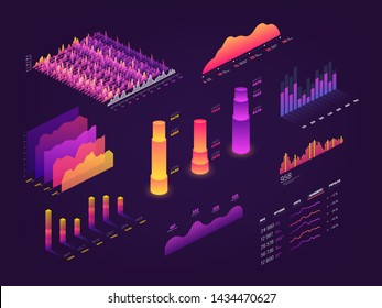 Futuristic 3d isometric data graphic, business charts, statistics diagram and infographic elements. Chart and graphics, growth progress pyramidal illustration