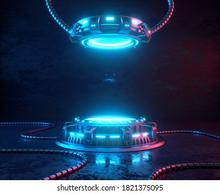 Futuristic 3d render mockup. Space theme illustration. Cyber platforms and cables with glowing neon lights.