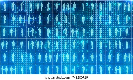 A futuristic 3d rendering of identical businessmen and women standing in world office square cells of a light blue network imposed on the digital map in the background.