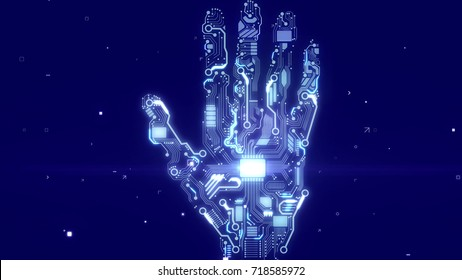 Futuristic 3d rendering of a sparkling intelligent cyborg hand with embedded CPU microchips and circuits of lignt blue color in the dark blue background