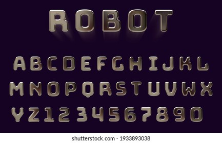 Futuristic 3D robot font with glossy metal texture (chrome, silver), bold uppercase typeface for movie, technology, digital