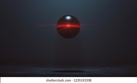 Futuristic Abstract Alien Geo Sphere AI Super Computer Droid with Glowing Lens Flare 3d illustration 3d render