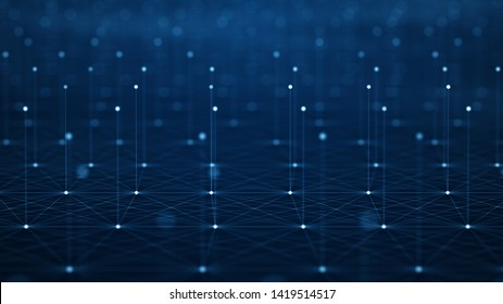 Futuristic Abstract Background Concept. Network Conveying Connectivity, Complexity And Data Flood Of Modern Digital Age.Communication And Technology Network Background With Moving Lines And Dots.
