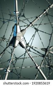 Futuristischer abstrakter Hintergrund. Neuronales Netzwerk. Moderne Illustration. 3D-Rendering