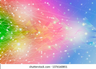 Futuristic abstract geometric and polygonal illuminate line and dot wireless connection wave,triangle bright purple and blue colorful technology background,conceptual miracle motion graphic for future