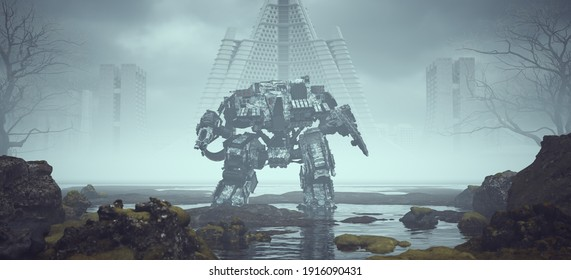 Futuristic AI Battle Droid Cyborg Mech in a Landscape near Foggy Abandoned Brutalist Style Architecture in the Distance 3d illustration render