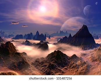 Futuristic Air Ships above Rocky Alien World