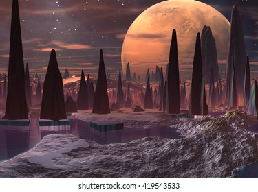 Futuristic Alien City - 3D Computer Artwork