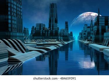 Futuristic Alien City - 3D Rendered Computer Artwork - Illustration