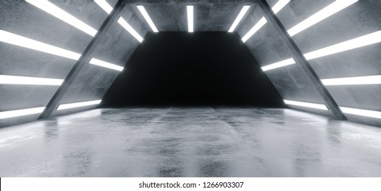 Futuristic Alien Ship Sci Fi Modern Hi Tech Grunge Concrete Reflective Texture Corridor Tunnel Empty Dark Space And White Glowing Led Bright Lights Background 3D Rendering Illustration