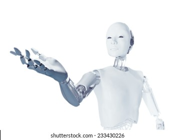A futuristic android extending an arm with an empty hand
