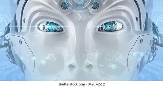 Futuristic android face with digital virtual HUD elements. Closeup mechanical eyes of a creative robot. High-tech artificial intelligence on blue background.