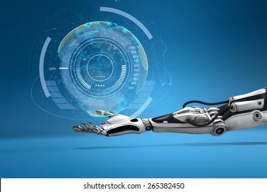 Futuristic  android hand holding virtual digital earth globe. Sci-fi technology design concept.