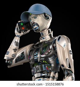 Futuristic android man or very detailed robot talks with somebody using his mobile phone like a human. Upper body isolated on black background. 3d render