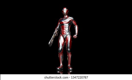 Futuristic android soldier in bulletproof armor, military cyborg armed with sci-fi rifle gun standing on black background, 3D rendering