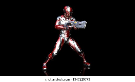 Futuristic android soldier in bulletproof armor, military cyborg armed with sci-fi rifle gun shooting on black background, 3D rendering