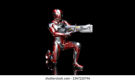 Futuristic android soldier in bulletproof armor, military cyborg armed with sci-fi rifle gun kneeling on black background, 3D rendering