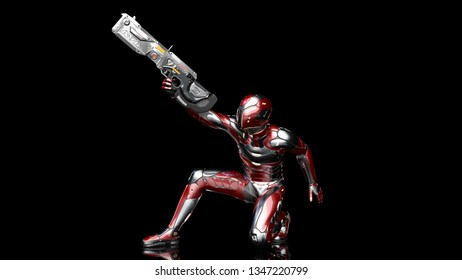 Futuristic android soldier in bulletproof armor, military cyborg armed with sci-fi rifle gun crouching and shooting on black background, 3D rendering