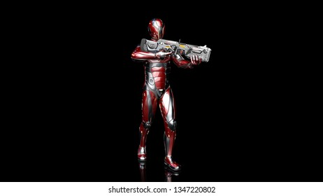 Futuristic android soldier in bulletproof armor, military cyborg armed with sci-fi rifle gun standing and shooting on black background, 3D rendering