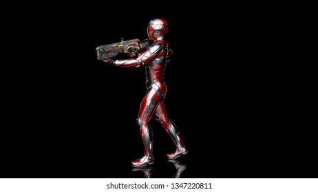 Futuristic android soldier in bulletproof armor, military cyborg armed with sci-fi rifle gun walking and shooting on black background, 3D rendering