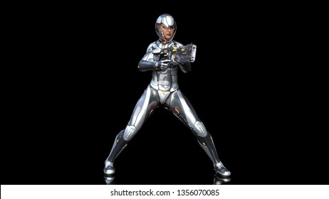 Futuristic android soldier woman in bulletproof armor, military cyborg girl armed with sci-fi rifle gun shooting on black background, 3D rendering