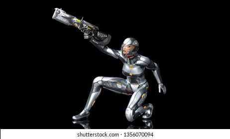 Futuristic android soldier woman in bulletproof armor, military cyborg girl armed with sci-fi rifle gun crouching and shooting on black background, 3D rendering