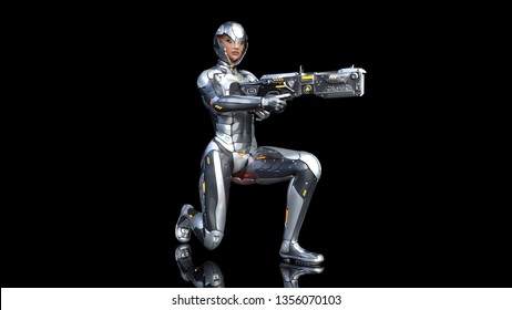 Futuristic android soldier woman in bulletproof armor, military cyborg girl armed with sci-fi rifle gun kneeling on black background, 3D rendering