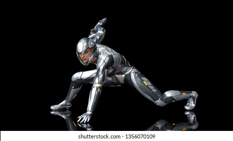 Futuristic android soldier woman in bulletproof armor, military cyborg girl armed with sci-fi rifle gun crouching on black background, 3D rendering