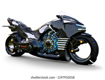 Futuristic angled light cycle. Motorcycle is on an isolated white background. 3d rendering