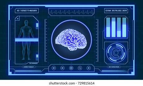 futuristic app interface for medical and scientific purpose - human brain scanner (3d render)