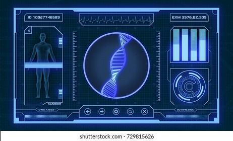 futuristic app interface for medical and scientific purpose - human dna scanner (3d render)