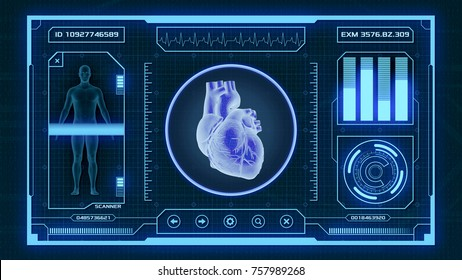 futuristic app interface for medical and scientific purpose - human heart scanner (3d render)